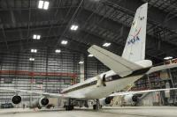 NASA's DC-8 flying laboratory is parked inside the FedEx hangar as scientists and mission personnel tend to instruments during a stop in Anchorage on Tuesday while on a 28-day round-the-world Atmospheric Tomography (ATom) mission. (Bill Roth / Alaska Dispatch News)