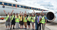 Scientists and crew of DC-8 NASA aircraft with Nadi Muslim College science teacher Dinesh Goasi (second from right), and US Embassy Suva Regional Environmental Officer Mark Mineo (right), yesterday at Nadi International Airport. Photo: Arishma Devi-Narayan