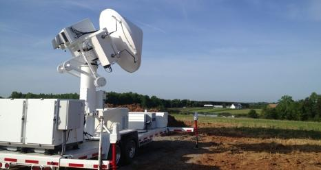 Set up on a ranch in Rutherford County, N.C., NASA's Dual-frequency, Dual-polarization, Doppler Radar (D3R) is one of several ground radars measuring rain as it falls from clouds.