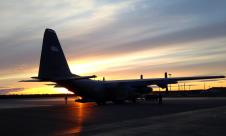 The NASA ARISE C-130 being towed to the hangar.
