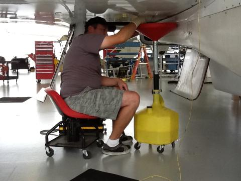 Crew Chief Mike Bereda works on AV-6 (9.29.12)