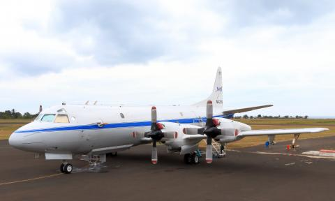NASA P-3B on the ramp at Sao Tome International Airport