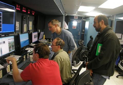 Scott Braun and other scientists in the Payload Mobile Operations Facility (PMOF) (2012)
