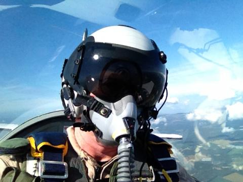 Research pilot Rich Rogers flying AV-6 chase in the T-34 (9.15.12)