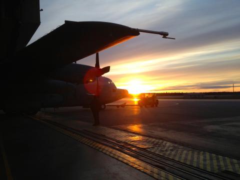 The NASA ARISE C-130 going inside the hangar.