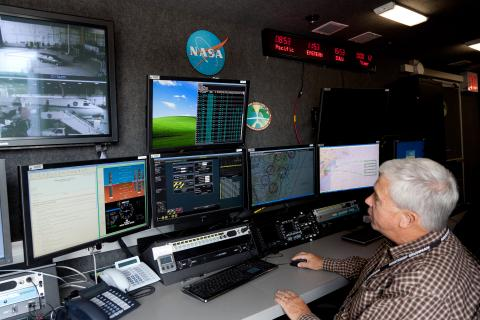 Pilot Kent Fuller in the Global Hawk Mobile Operations Facility (9.19.12)