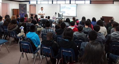 J. Zavaleta Presenting ATTREX to 7th - 9th grade students.