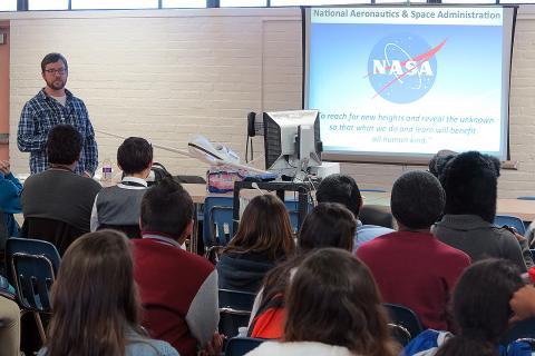 E. Czech Presenting ATTREX to 7th - 9th grade students.