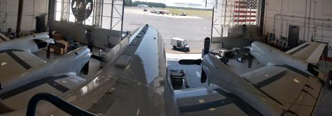 ORACLES Panorama of the P-3 in the hangar