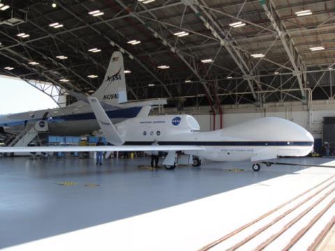 AV-6 Global Hawk in the Wallops Flight Facility N-159 Hangar with the P-3 (2012)