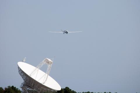 First landing at Wallops with Ku Dish in foreground (2012)