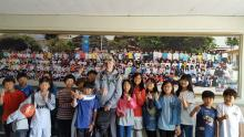Songchon Elementary School designated AERONET site managers give a thumbs up to NASA