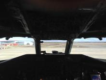 View out of the DC-8 cockpit.