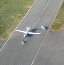 AV-6 after landing at WFF, view from T-34 chase aircraft (9.15.12)