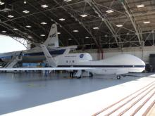 AV-6 Global Hawk in the Wallops Flight Facility N-159 Hangar with the P-3 (2012)