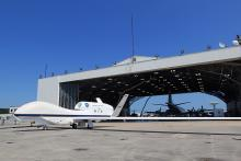 Backing into the Wallops Flight Facility N-159 Hangar with the P-3 (2012)