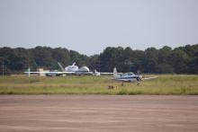 T-34 Chase Plane with the Global Hawk in the background