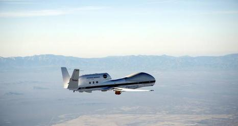 NASA's Global Hawk aircraft takes off from its base operations in Edwards, California to fly near the equator over the Pacific Ocean in the tropical tropopause layer.